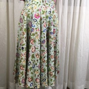 Anne Klein Floral Cotton Circle Skirt